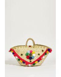 Muzungu Sisters Korb-Tasche mit Pompoms Multi - Mehrfarbig
