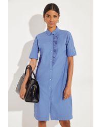 Philo Hemdblusenkleid mit Rüschen Blau 100% Baumwolle Made in Italy