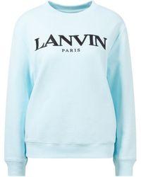 Lanvin - Baumwoll-Sweatshirt mit Logo-Stickerei Eisblau - Lyst