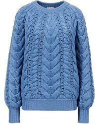Brunello Cucinelli Chunky Cashmere-Pullover mit Zopfstrickmuster Blau