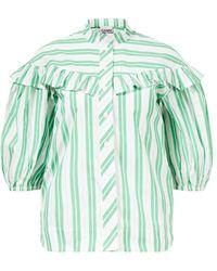 Ganni Baumwoll-Bluse mit Latzkragen Grün/Weiß