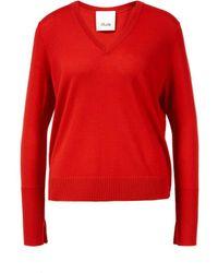Allude Woll-Pullover mit V-Ausschnitt Rot