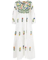 Muzungu Sisters Baumwoll-Kleid 'Frangipani' mit Blumen-Stickerei Weiß - Mehrfarbig
