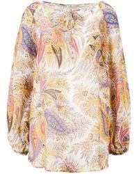 Etro Seidenbluse 'Mykonos' mit floralem Patchwork-Muster Multi - Mehrfarbig