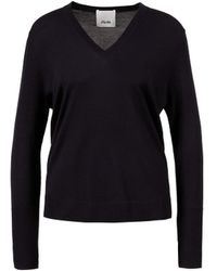 Allude Woll-Pullover mit V-Ausschnitt Marineblau - Schwarz