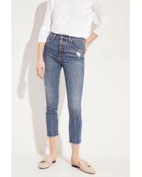 Veronica Beard - Skinny Jeans 'Faye' mit Knöpfen Blau - Lyst