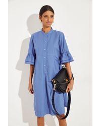 Philo Hemdblusenkleid mit verkürzten Ärmeln Blau 100% Baumwolle Made in Italy