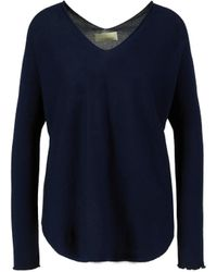 120% Lino Cashmere-Pullover mit V-Ausschnitt Dunkelblau