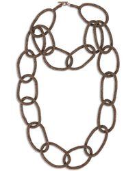 Brunello Cucinelli Halskette mit Perlendetails Braun - Mehrfarbig