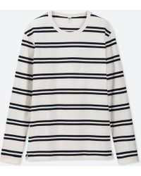 dc70f09b Lyst - Uniqlo Men Washed Striped Long-sleeve T-shirt in Blue for Men