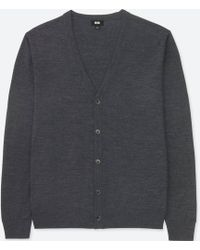 Uniqlo - Men Extra Fine Merino V-neck Long-sleeve Cardigan - Lyst