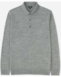 Uniqlo - Men Extra Fine Merino Knit Long-sleeve Polo Shirt - Lyst