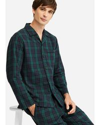 Uniqlo - Flannel Checked Long Sleeved Pyjamas - Lyst