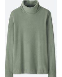02ceb1fa Uniqlo - Women Heattech Fleece Turtleneck Long-sleeve T-shirt - Lyst