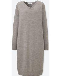 Uniqlo - Women Merino-blend V-neck Long-sleeve Dress - Lyst