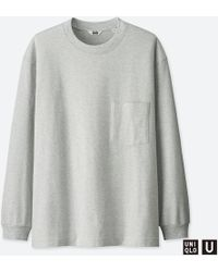 fc7d8283 Lyst - Uniqlo Men Washed Striped Crew Neck T-shirt in Green for Men