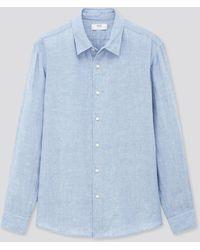 Uniqlo Camisa 100% Lino Prémium - Azul