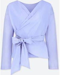 Uniqlo   Women Extra Fine Cotton Cache-coeur Long-sleeve Blouse   Lyst
