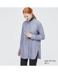 Uniqlo Camisa 100% Algodón Cuello Mao Rayas - Azul