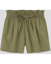 Uniqlo Shorts Cotone Misto Lino Relax - Verde