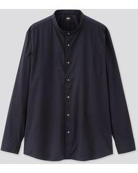 Uniqlo Camisa Algodón Extrafino Cuello Mao - Azul