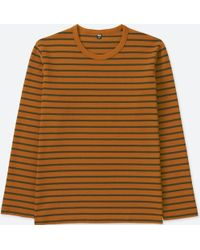 89d6d6ef99 Lyst - Uniqlo Men Washed Striped Crew Neck T-shirt in Green for Men