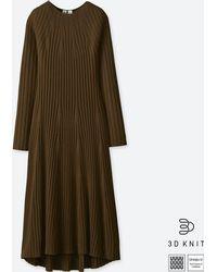 Uniqlo - Women U 3d Extra Fine Merino Crewneck Flare Long-sleeve Dress - Lyst