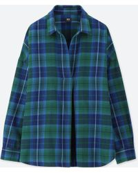 Uniqlo - Women Flannel Checked Skipper Long-sleeve Shirt - Lyst