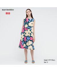 Uniqlo Vestito A Trapezio Marimekko Senza Maniche - Multicolore