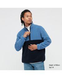 Uniqlo Maglione Pile A Blocchi Di Colore Con Zip - Blu