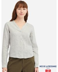 5129117e210 Lyst - Uniqlo Women Jwa Linen Cotton Striped 3/4 Sleeve Blouse in Gray