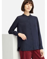f242e58ed73cb7 Uniqlo - Women Rayon Long-sleeve Blouse (online Exclusive) - Lyst