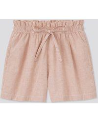 Uniqlo Shorts Cotone Misto Lino A Righe Relax - Multicolore
