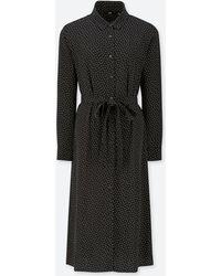 3cbb2b25739 Lyst - Uniqlo Women Chiffon Printed Long-sleeve Dress in Natural