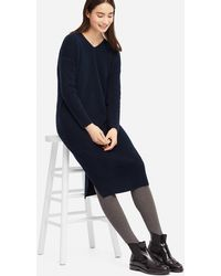 Uniqlo - Women Ribbed V-neck Long-sleeve Knit Dress - Lyst
