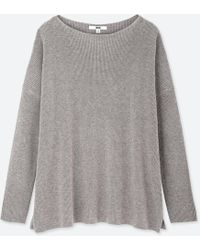 Uniqlo - Women Cotton Cashmere Boxy Boat Neck Long Sweater - Lyst