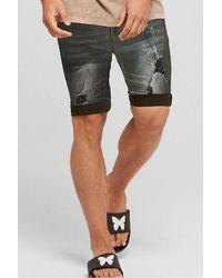 Good For Nothing Destroyed Denim Shorts - Black