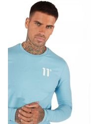 11 Degrees Long Sleeve Muscle Fit T-shirt - Blue