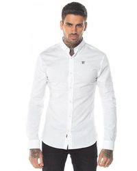 11 Degrees Long Sleeve Contrast Logo Shirt - White