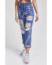 SIKSILK - Women's R.i.p Morn Bleach Flicker Mom Jeans - Lyst
