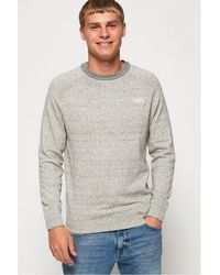 Superdry Orange Label Cotton Crew Sweater - Gray