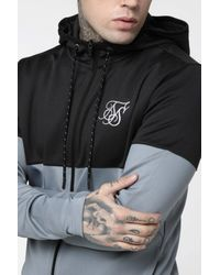 SIKSILK Agility Cut And Sew Zip Through Hoodie - Gray