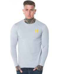 11 Degrees Long Sleeve Contrast Logo T-shirt - Gray