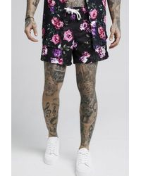 SIKSILK Standard Swim Shorts Black