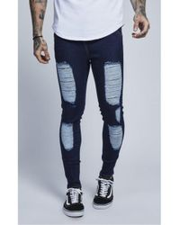 Illusive London - Low Rise Rip Up Jeans - Lyst