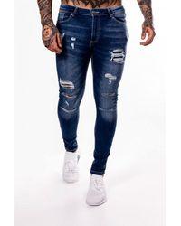 11 Degrees Rip & Repair Skinny Jeans - Blue