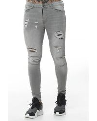 11 Degrees Ripped And Repaired Skinny Jeans - Gray
