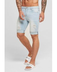 Good For Nothing Destroyed Denim Shorts - Blue