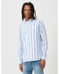 Norse Projects Anton Wide Stripe Oxford Shirt - Blue