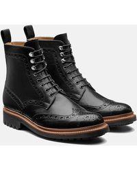 Grenson Fred Calf Brogue Derby Boot - Black